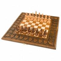 Шахматы + нарды резные с гранатами 50 Haleyan